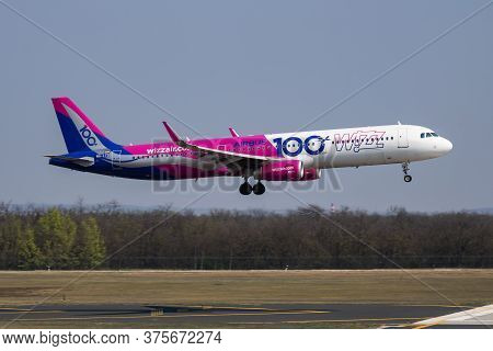 Budapest / Hungary - April 8, 2019: Wizz Air Special Sticker Airbus A321 Ha-ltd Passenger Plane Arri