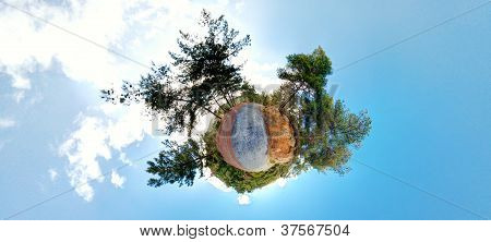 Little Planet. Forest 360 panorama. Stereographic projection poster