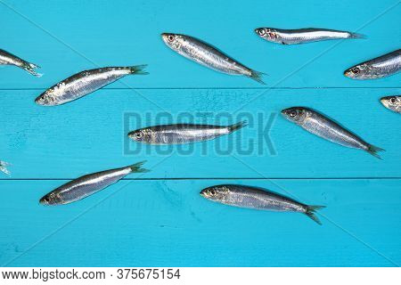 Some Sardines Arranged On A Blue Wooden Table As If They Were Swimming In The Sea