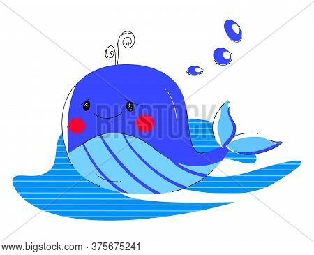 Сute Funny Whale. Cartoon Style. Marine Life. Stock Vector Illustrations For World Whale And Dolphin