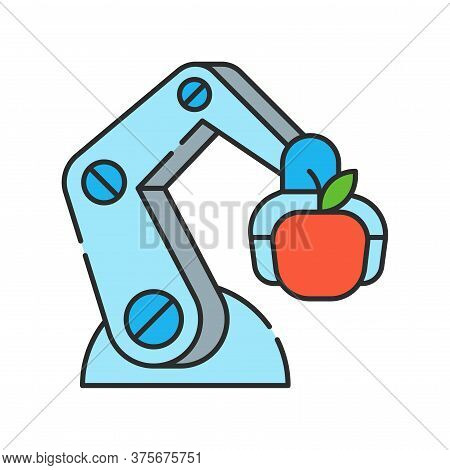 Futuristic Robot Arm Automation To Increase Efficiency Color Line Icon. Agricultural Iot. Smart Farm