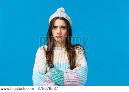 Offended Unhappy, Sad Cute Brunette Woman Looking Mad And Sulking Camera, Cross Hands Over Chest Def