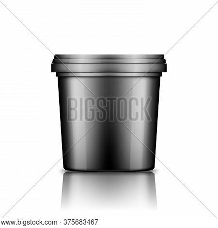 Black Ice Cream, Yoghurt, Mayonnaise, Or Paint Bucket With Cap Mockup