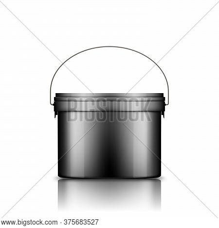 Ice Cream, Yoghurt, Mayo, Paint, Or Putty Bucket With Metal Handle Black Mockup Isolated On White Ba