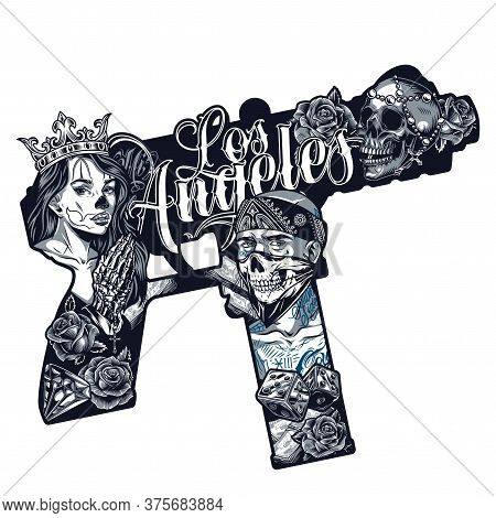 Chicano Tattoo Vintage Concept In Machine Pistol Shape With Pretty Girl In Crown Gangster In Bandana
