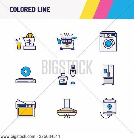 Vector Illustration Of 9 Kitchenware Icons Colored Line. Editable Set Of Hand Blender, Fridge, Juice