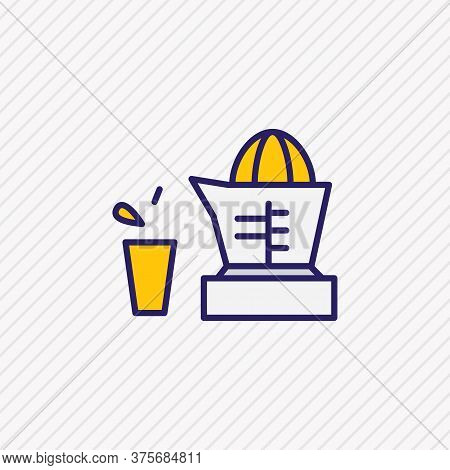 Vector Illustration Of Juicer Icon Colored Line. Beautiful Kitchenware Element Also Can Be Used As O