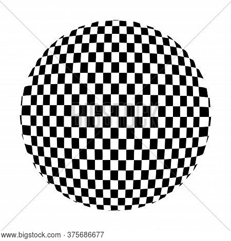 Chess Waves Board. Optical Illusion Sphere. Abstract 3D Black And White Illusions. Vector Illustrati