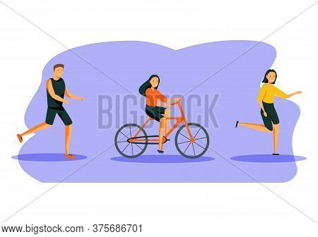 People Outdoor Sport Set. Men And Women Running, Riding Bike And Roller Skates At Summertime. Outdoo