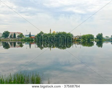 Pond In The Center Of Kystym Town, Chelyabinsk Area