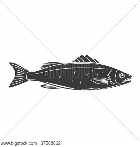 Sea Bass Fish Glyph Icon. Badge Fish For Design Seafood Packaging And Market. Vector Illustration.