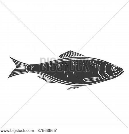 Herring Fish Glyph Icon. Badge Fish For Design Seafood Packaging And Market. Vector Illustration.