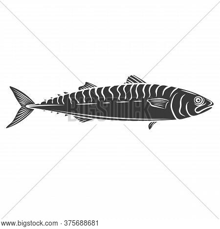 Mackerel Fish Glyph Icon. Badge Fish For Design Seafood Packaging And Market. Vector Illustration.