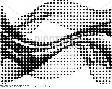 Polka Dot Halftone Grunge Vector Background Design. Circle Elements Wave. Optical Points, Polka Dot