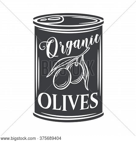 Canned Olives In Tin Can Glyph Icon. Illustration Food Product In Retro Style.