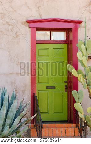 Colorful Southwestern Style Adobe Door In Historical Part Of Tuscon, Arizona, Usa