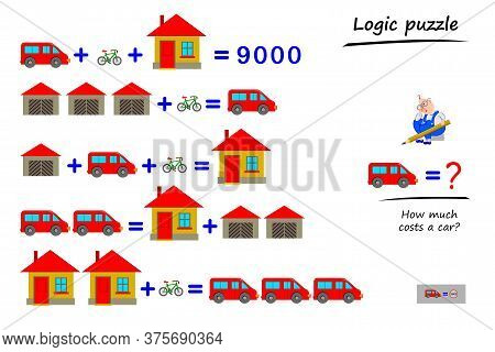Mathematical Logic Puzzle Game For Children And Adults. Solve Examples. How Much Costs A Car? Printa