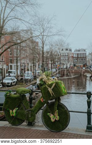 Amsterdam, Netherlands - March 7, 2020: Canals In Amsterdam City Center Old Town