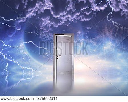 Doorway before cosmic sky. Mystic planet and clouds. 3D rendering