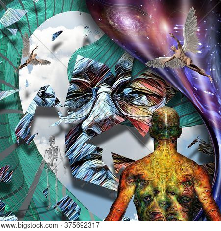Surrealism. Mans face in glasses. Man with wings represents angel. Man with weird demonic eyes on skin. Warped space. 3D rendering