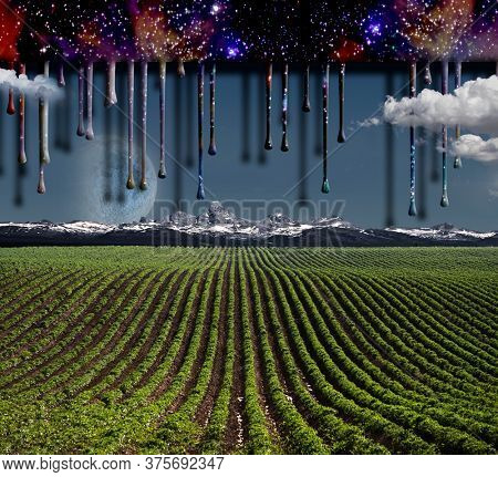 Surrealism. Field with green rows. Giant moon rises over the mountains. Another dimension flows down. 3D rendering