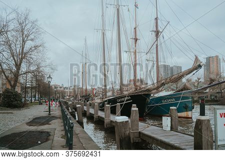 Rotterdam, Netherlands - March 9, 2020: Sailing Ships In The Harbor Veerhavenm, Rotterdam City