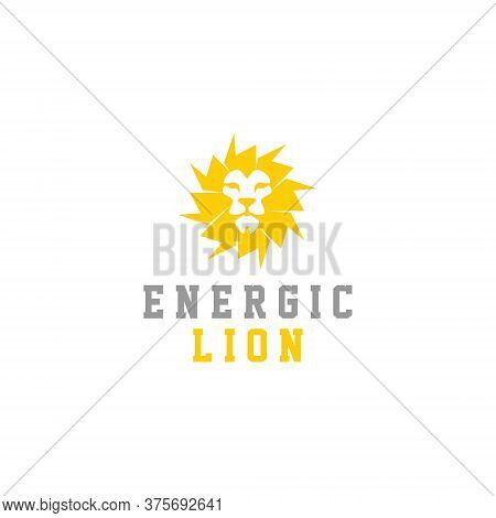 Lion Head Logo Energy Simple Circle Yellow Mane, Animal Design Template Idea
