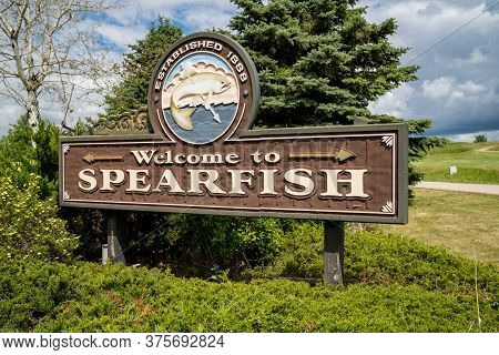 Spearfish, South Dakota - June 22, 2020: Welcome Sign To Spearfish South Dakota, A Small Town Near T