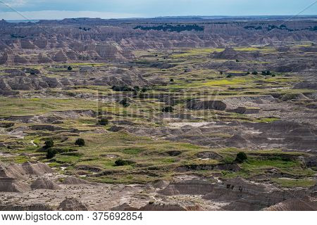 The Pinnacles Overlook At The Badlands National Park In South Dakota In The Summer