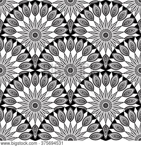 Deco Floral Seamless Pattern. Vector Ornamental Round Mandalas Background. Repeat Black And White Et