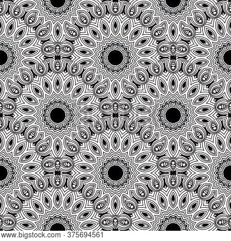 Deco Greek Style Floral Seamless Pattern. Vector Ornamental Round Mandalas Background. Repeat Black