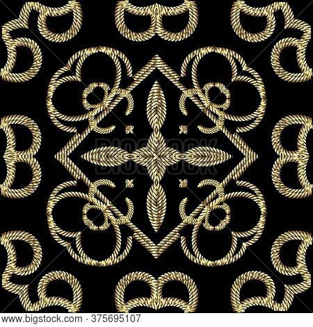 Textured Gold 3d Ropes Seamless Pattern. Tapestry Floral Vector Background. Embroidery Vintage Flowe
