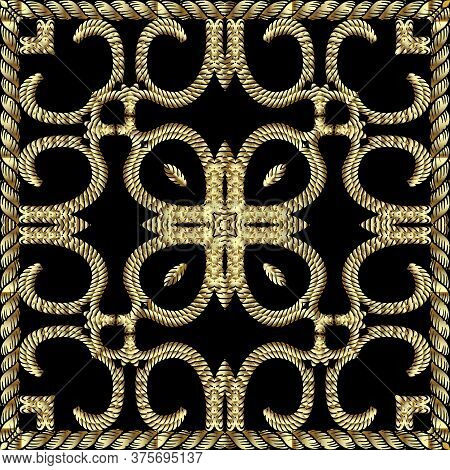 Textured Gold 3d Twisted Ropes Seamless Pattern. Tapestry Floral Vector Background. Embroidery Vinta