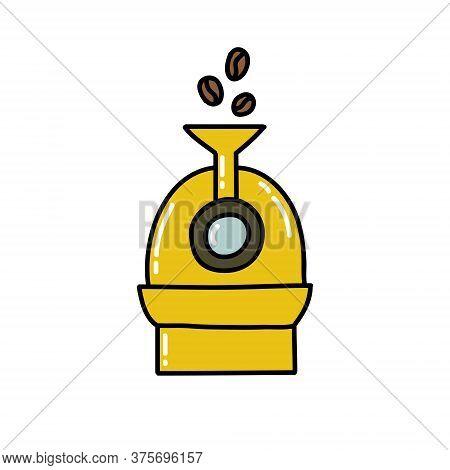 Coffee Roaster Doodle Icon, Vector Color Illustration