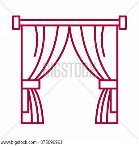 Abstract Sign Of Theater Curtain. Scene Clothing Element. Premiere Show. Curtains, Drapes And Blinds