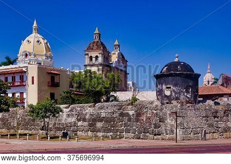 Cartagena, Colombia, 12.29.2018, Some Towers And Spires And The City Wall In Cartagena