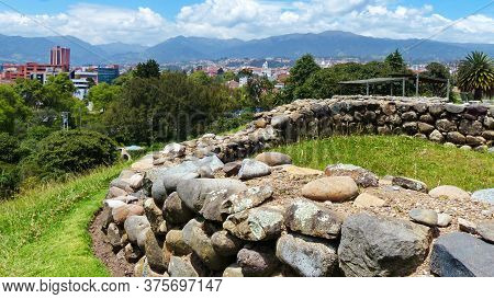 Panoramic View At Inca Ruins And City  From The Archeological Complex Pumapungo In Cuenca City, Ecua