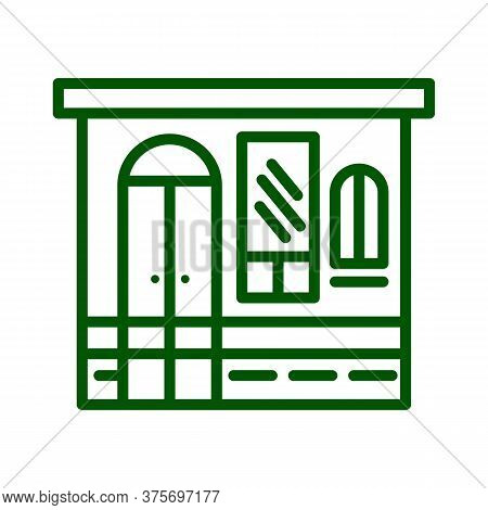 Store Facade Wall With Windows And Door. Storefront And Showcases. Grocery Button. Retail Building O