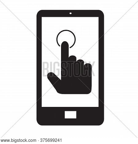 Hand Touch Smartphone Icon On White Background. Flat Style. Cursor Finger Icon For Your Web Site Des