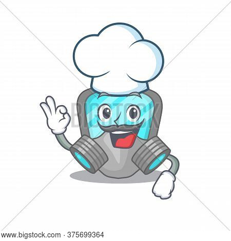 Talented Respirator Mask Chef Cartoon Drawing Wearing Chef Hat