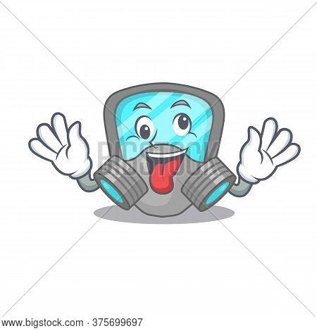 A Mascot Design Of Respirator Mask Having A Funny Crazy Face