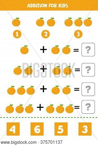 Addition With Cartoon Oranges. Math Game For Kids.