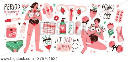 Set Of Menstruation, Period, Female Uterus, Reproductive System Stickers. Women With Flowers, Pregna