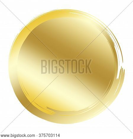 Gold Coin. Vector Golden Circle Icon. Button In The Form Of Money. Shiny Object. Illustration Of Fin