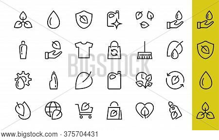 Ecology Vector Line Icons Set, Contains Icons Such As Photosynthesis, Environmental Protection, Eco-
