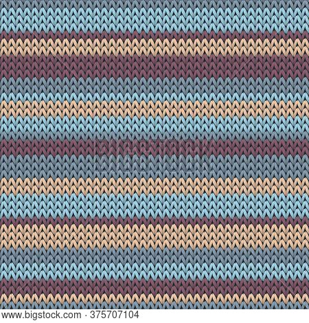 Trendy Horizontal Stripes Knit Texture Geometric Vector Seamless. Plaid Knitwear Structure Imitation