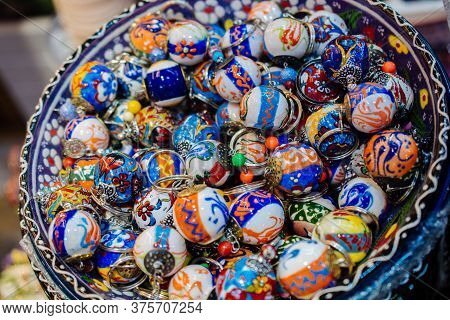Colorful Turkish Ceramic Balls As Souvenirs At Street Market