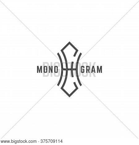 Geometric Vintage Monogram Letters E And H Design Template. Vector Illustration.