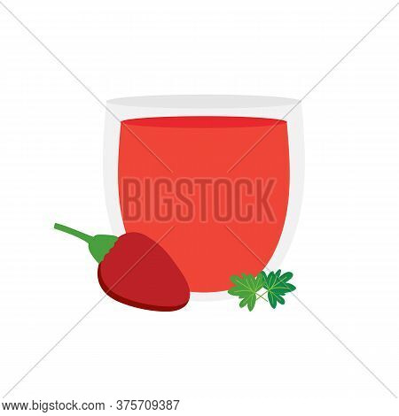 Gazpacho Spanish Cold Vegetable Soup In Glass Cup With Chili Pepper Vector Cartoon Style Illustratio