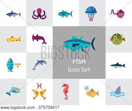 Fish Icon Set. Pieces Octopus Dolphin Shark Catfish Canned Fish Tuna Fish Shoal Caviar Hammerhead Fi